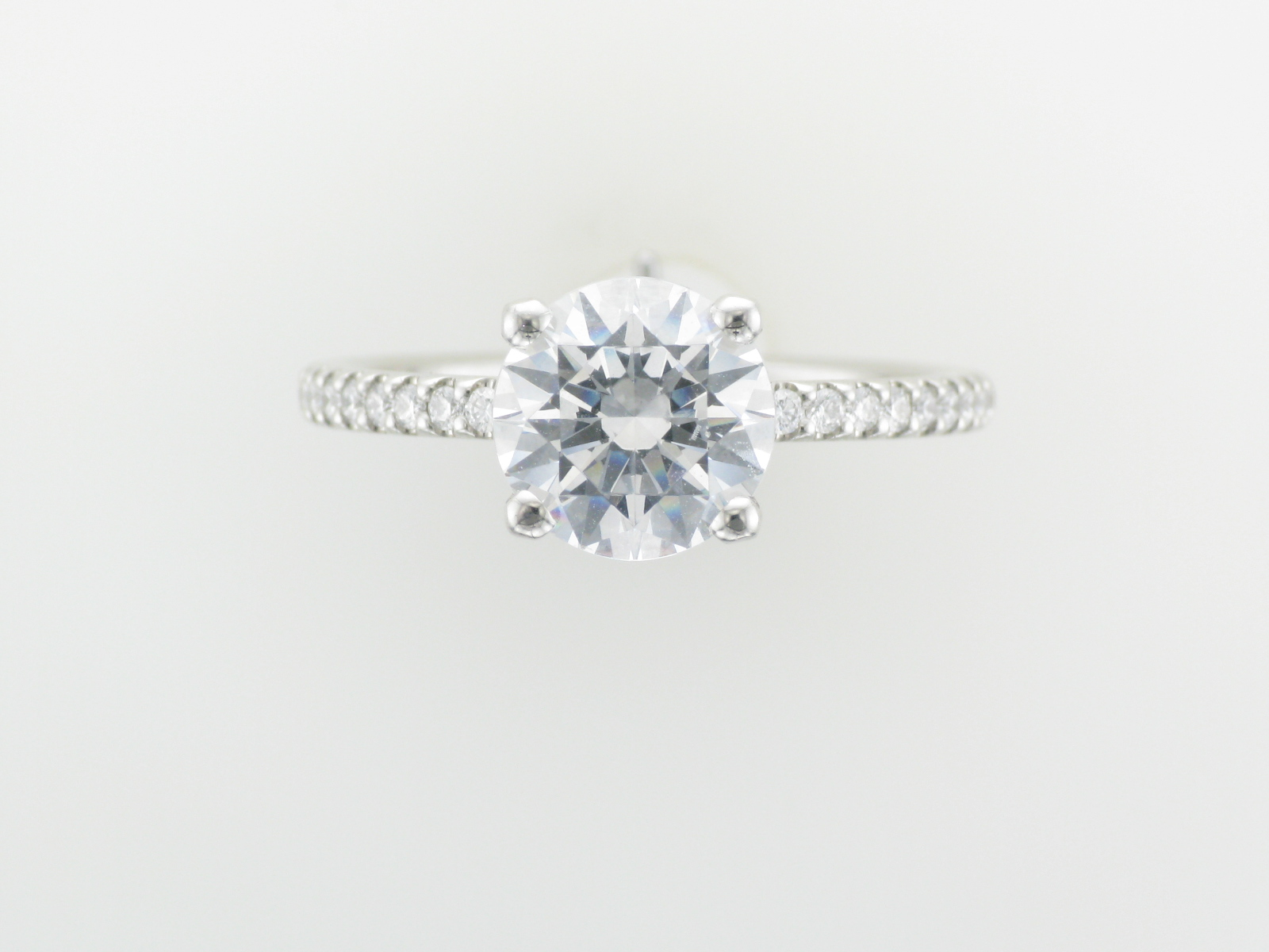 Platinum Solitaire with Pave Band