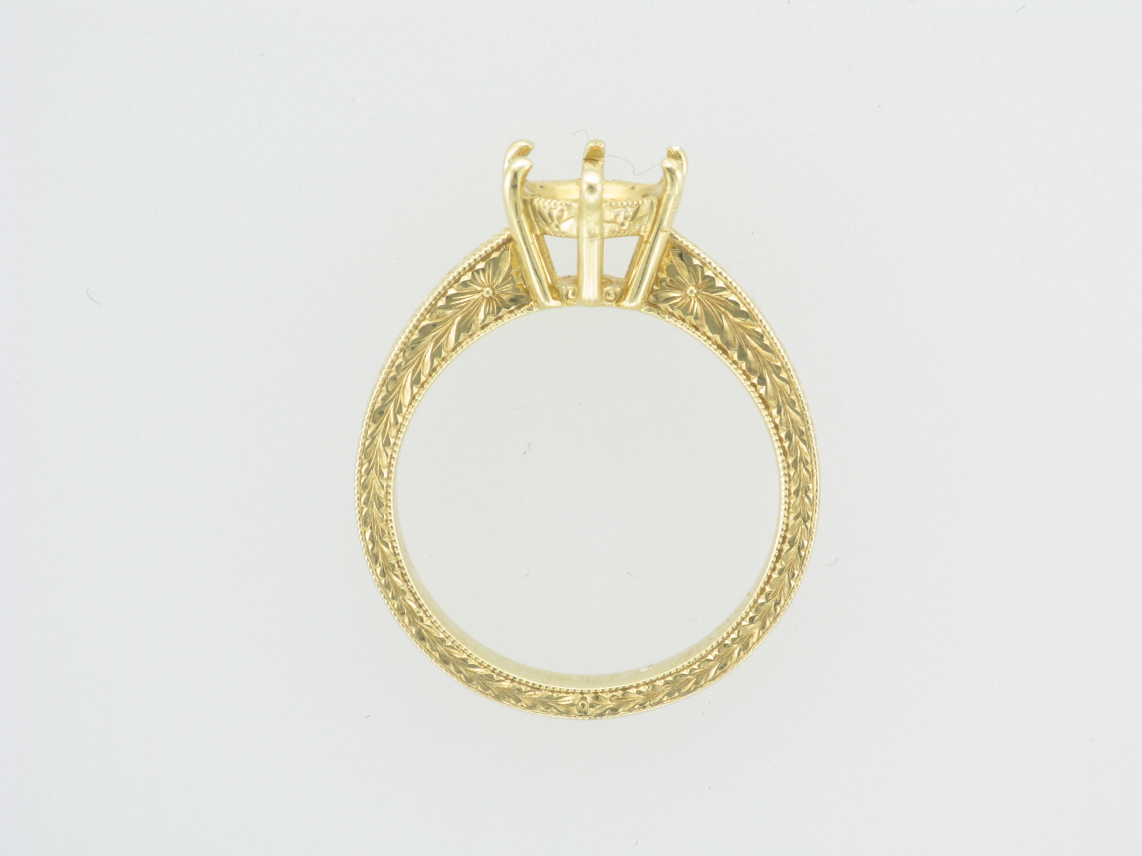 Engraved Gold Engagement Setting