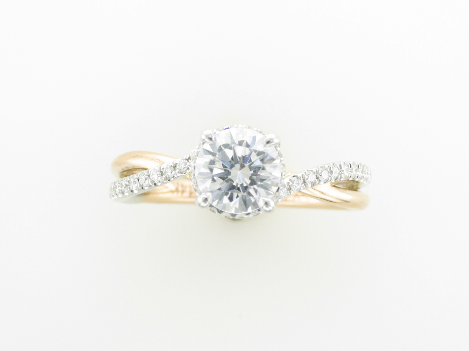 Rose and White Gold Twist Engagement Ring
