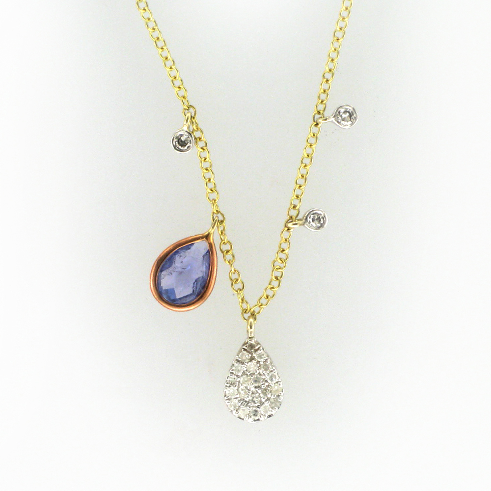 Rose and Yellow Gold Tanzanite Necklace