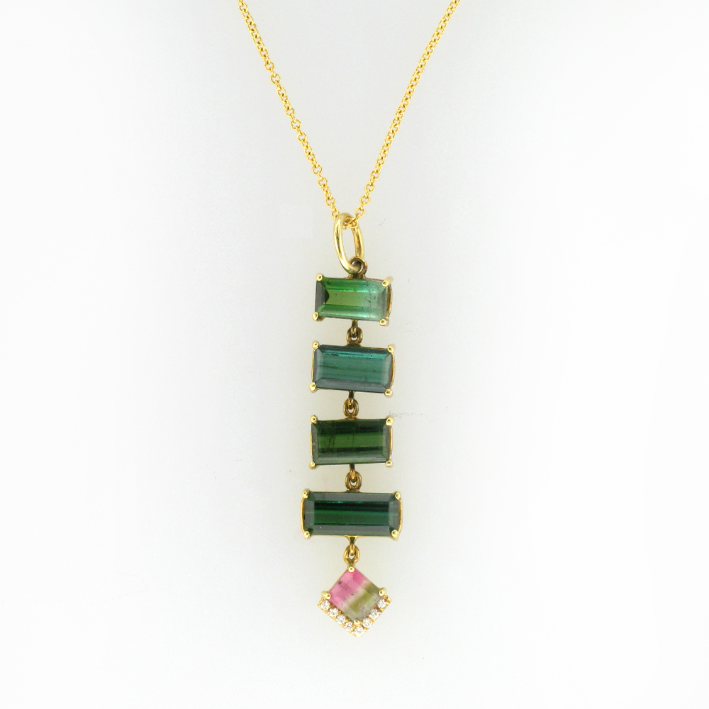 Green and Watermelon Tourmaline Necklace