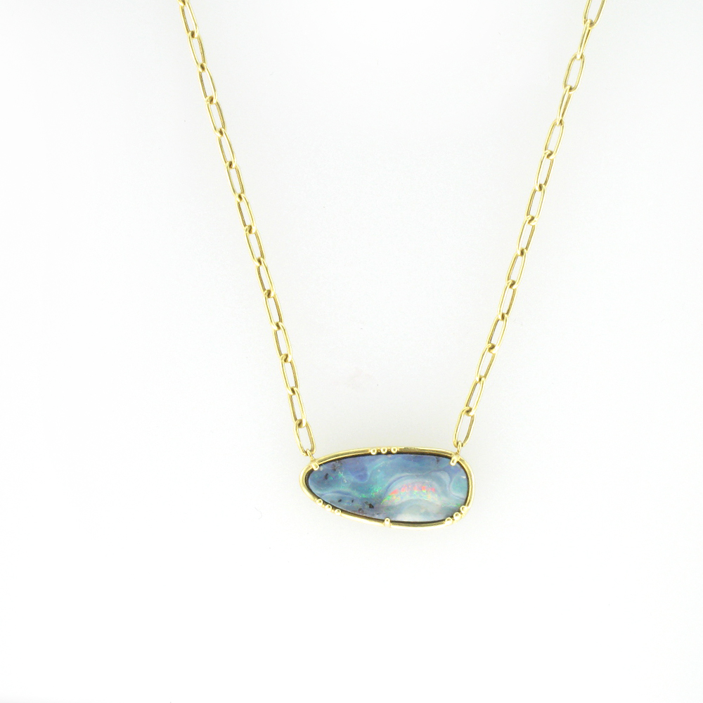 Gold and Boulder Opal Necklace