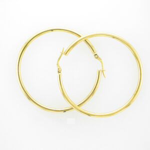 These 18 karat yellow gold earrings have a 45 millimeter hoop.