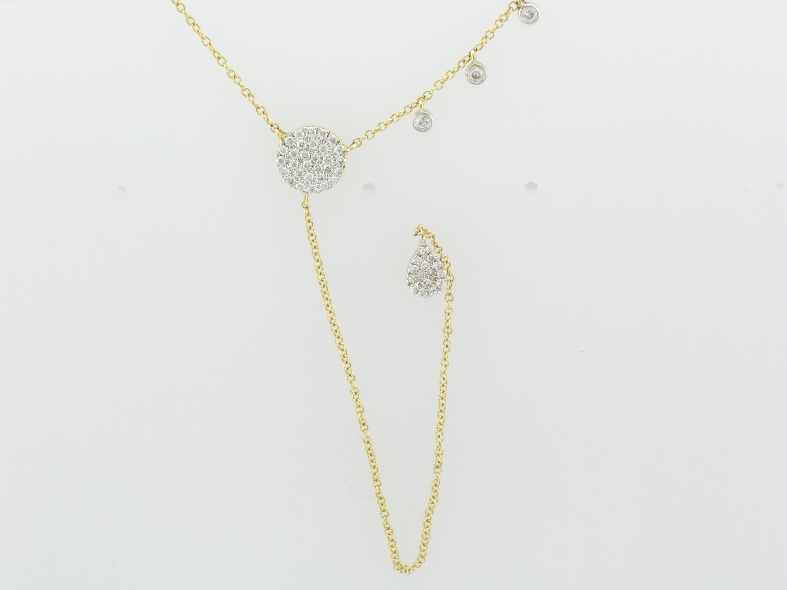Dangling Pave Disk Necklace