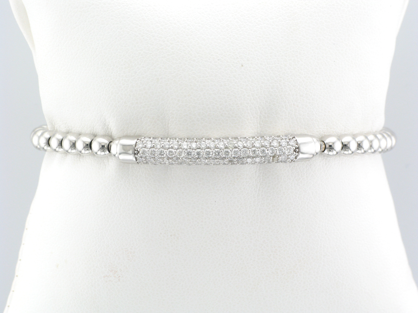 White Gold Stretch Bracelet with Pave