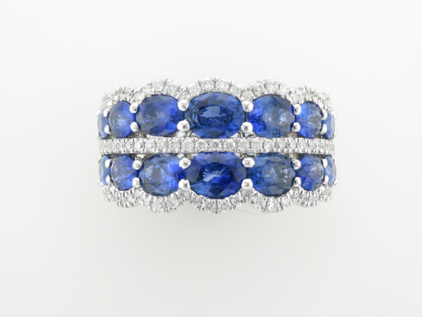 Symmetrical Diamond and Sapphire Band