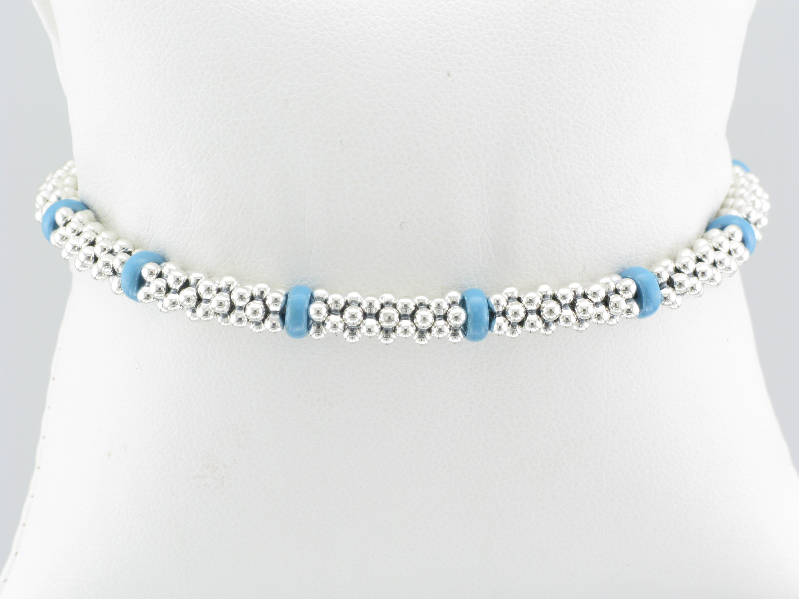 Sterling Silver Caviar Bracelet with Blue Beads