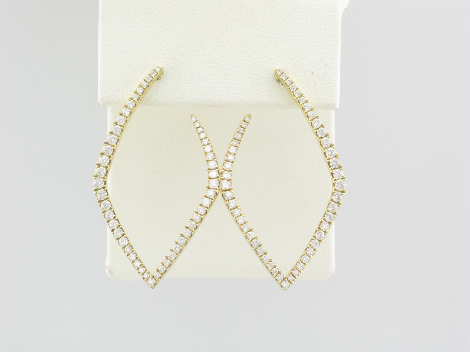14K Yellow Gold Diamond Inside and Out Hoops