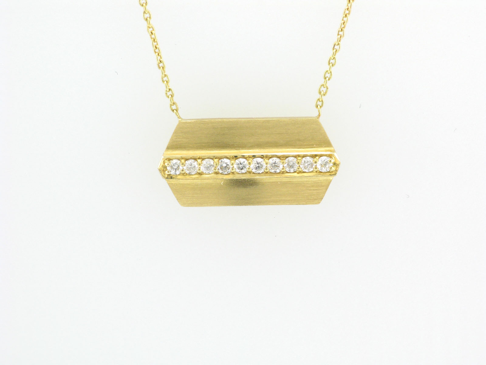 Brushed Gold Hexagon Necklace