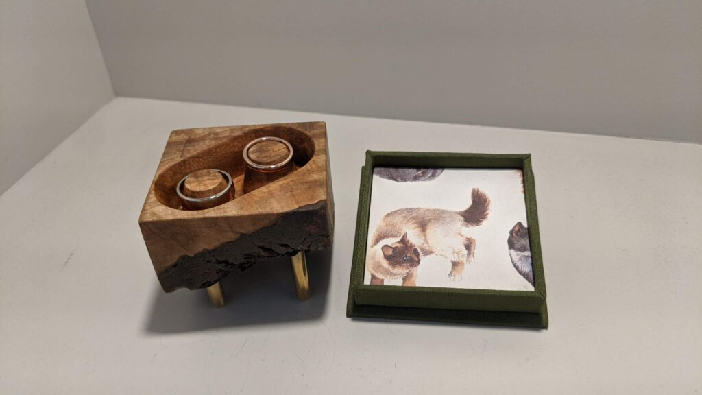 Photos of the construction and final product of a maple box for rose gold wedding rings