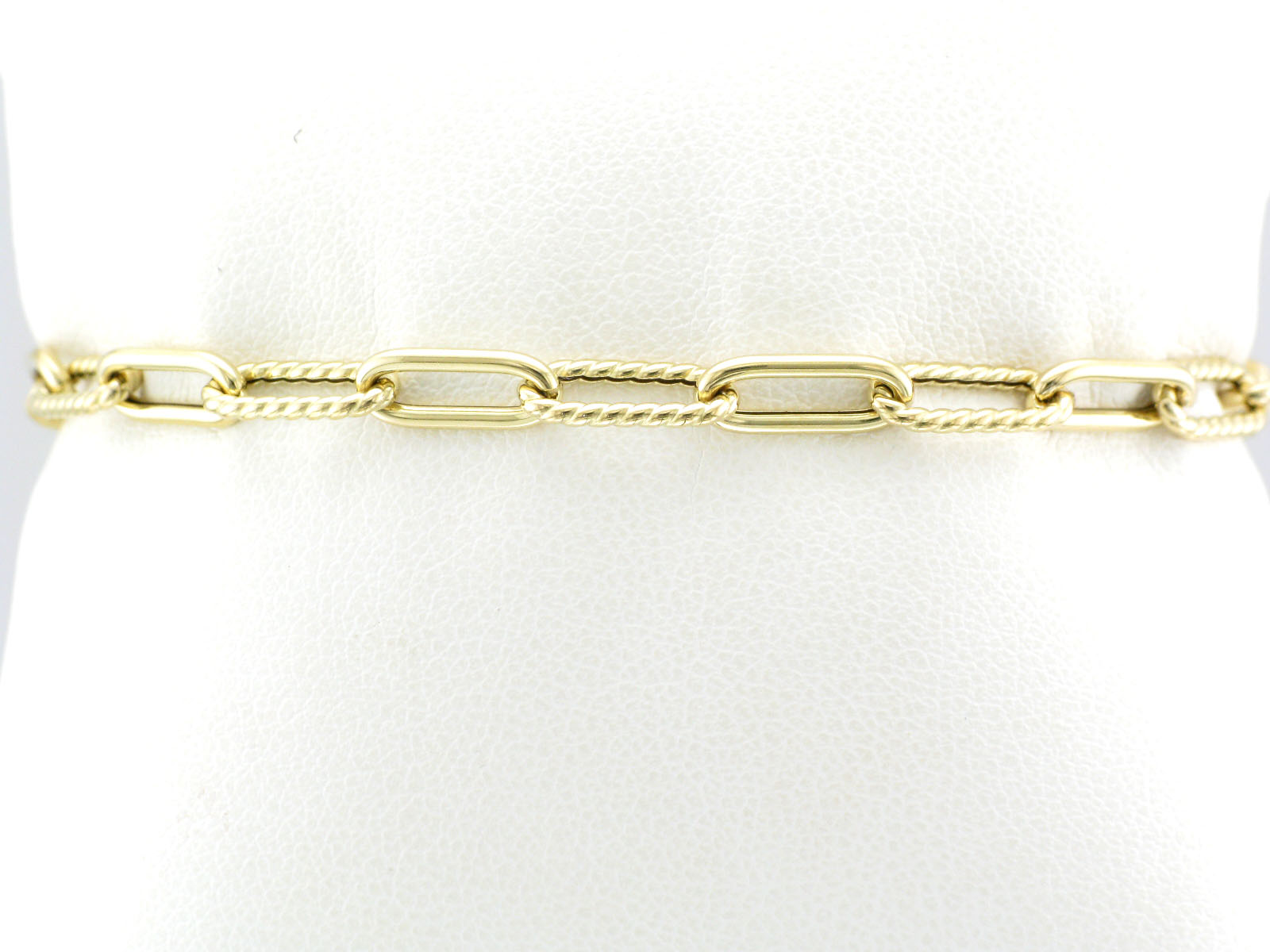 18K Yellow Gold Fluted Paperclip Bracelet