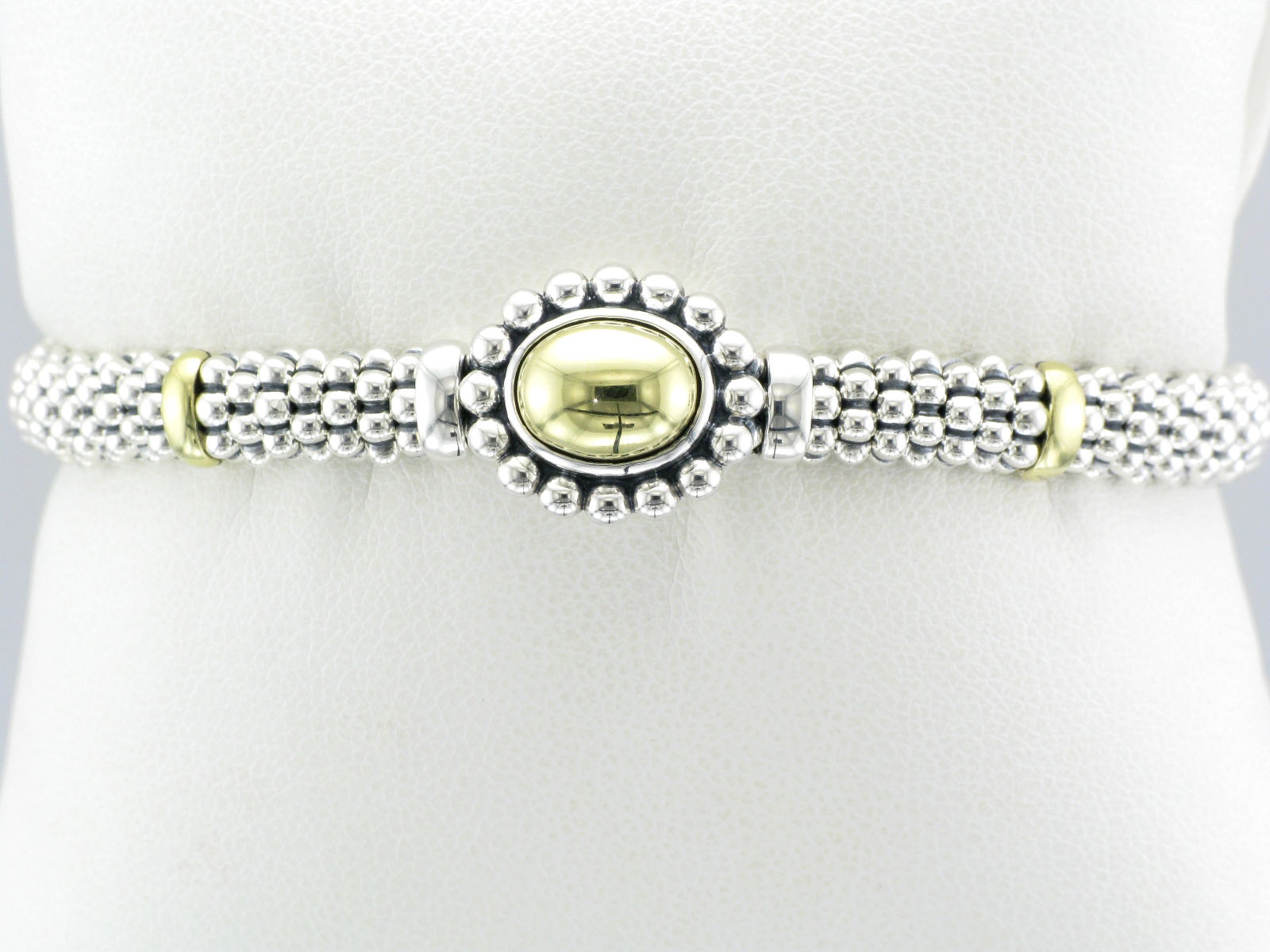 Sterling Silver and Yellow Gold Caviar Bracelet