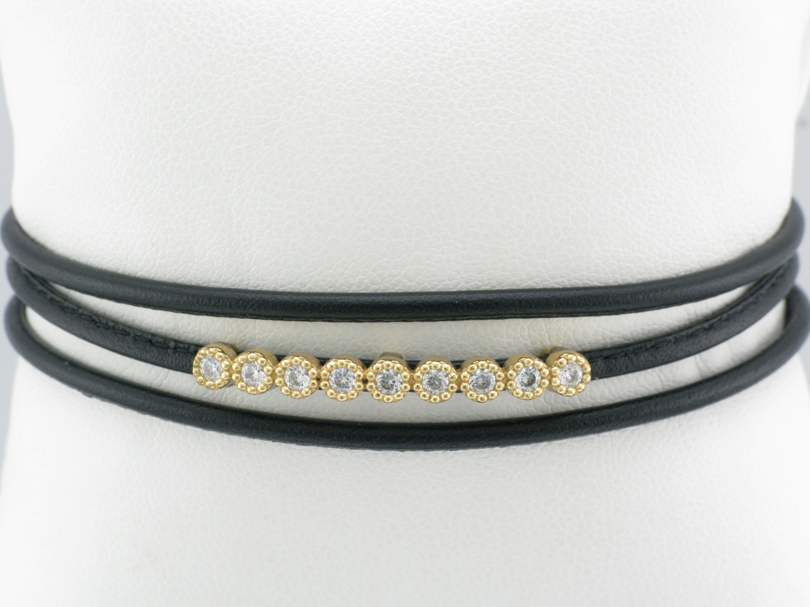 Leather Bracelet with White Sapphires